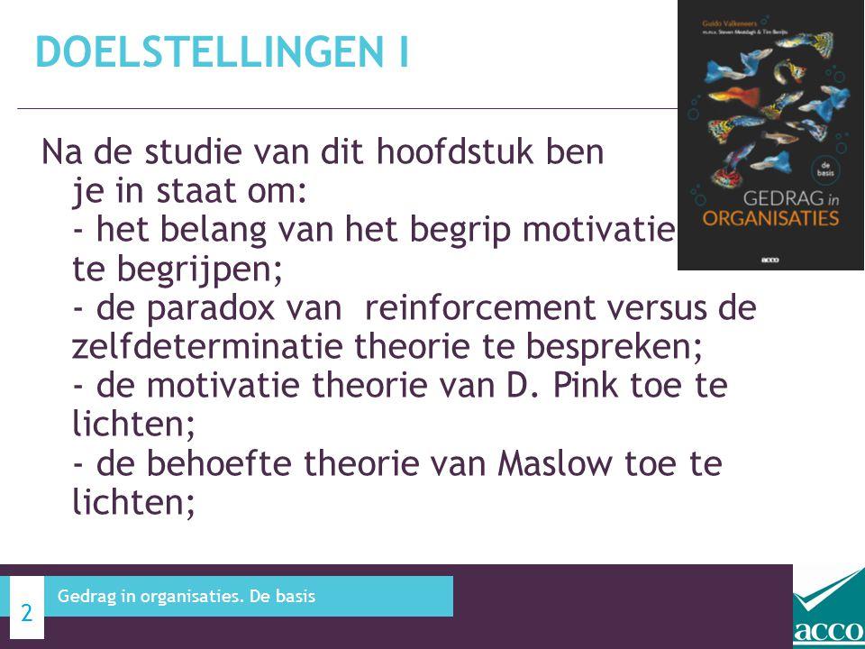 Na de studie van dit hoofdstuk ben je in staat om: - de X en Y theorie toe te lichten; - motivatie en hygiëne factoren tegen over elkaar kunnen plaatsen; - de motivatie theorie van Mc Clelland te bespreken; - de doelstellingen theorie van Locke toe te lichten; - de billijkheids theorie te beschrijven; - de verwachtingstheorie van Vroom te bespreken; - onderscheid aan te geven tussen inhoudelijke en procestheorie.