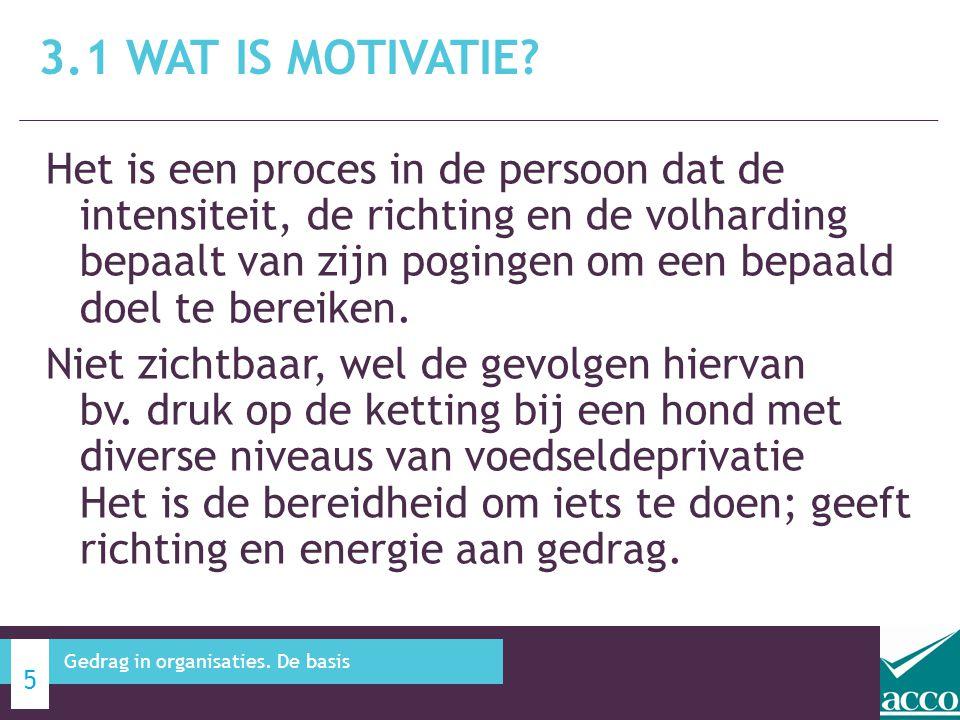 3.1 WAT IS MOTIVATIE? 6 Gedrag in organisaties. De basis MOTIVATION WORK PERFORMANCE Belang?