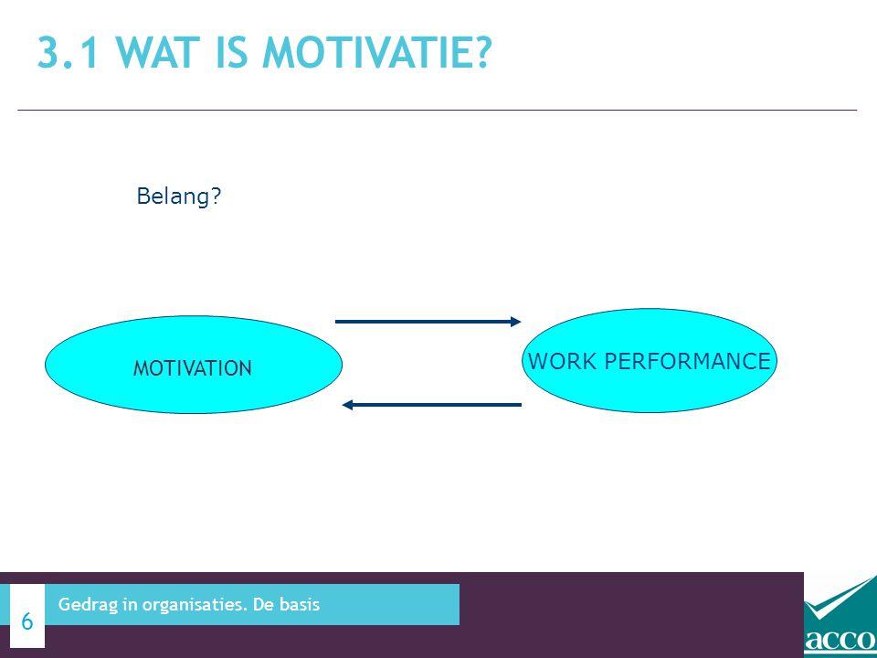 3.1 WAT IS MOTIVATIE? 7 Gedrag in organisaties. De basis