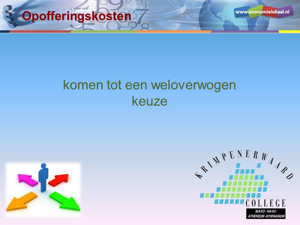 www.economielokaal.nl Opofferingskosten KeuzeOpbrengst (waardering) Kosten (waardering ongemak) Netto baten Serveren€ 40€ 10 (-)€ 30 Toiletten€ 50€ 100 (-)- € 50 Bioscoop€ 250€ 15 (-)€ 235 Als je naar de bioscoop gaat, kun je niet serveren.