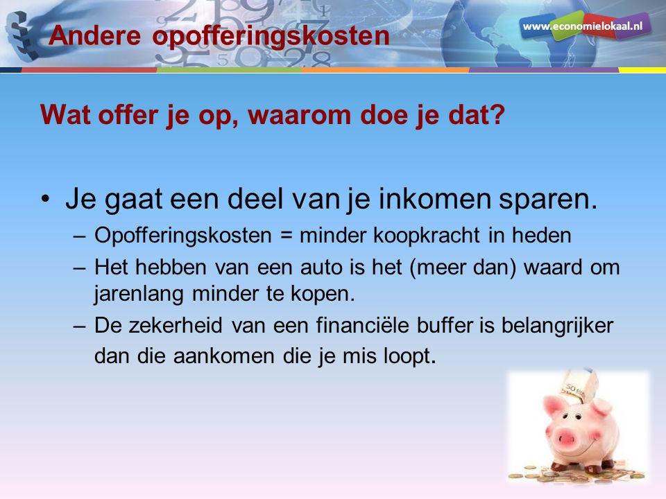 www.economielokaal.nl Andere opofferingskosten Wat offer je op, waarom doe je dat? Je gaat een deel van je inkomen sparen. –Opofferingskosten = minder