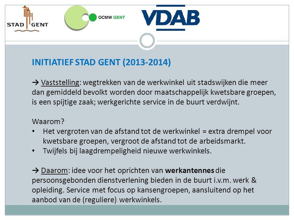 INITIATIEF STAD GENT (2013-2014) - vervolg Het 'antenne - idee' werd voorgelegd aan het netwerk 'Gent, stad in werking' dat alle direct betrokken partijen (in Gent) verenigt.