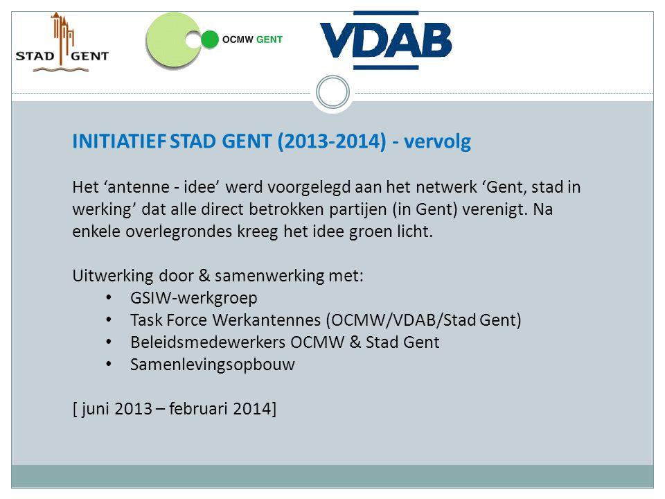 INITIATIEF STAD GENT (2013-2014) - vervolg Het 'antenne - idee' werd voorgelegd aan het netwerk 'Gent, stad in werking' dat alle direct betrokken part