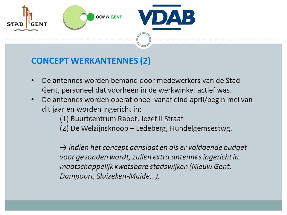 CONCEPT WERKANTENNES (2) De antennes worden bemand door medewerkers van de Stad Gent, personeel dat voorheen in de werkwinkel actief was. De antennes