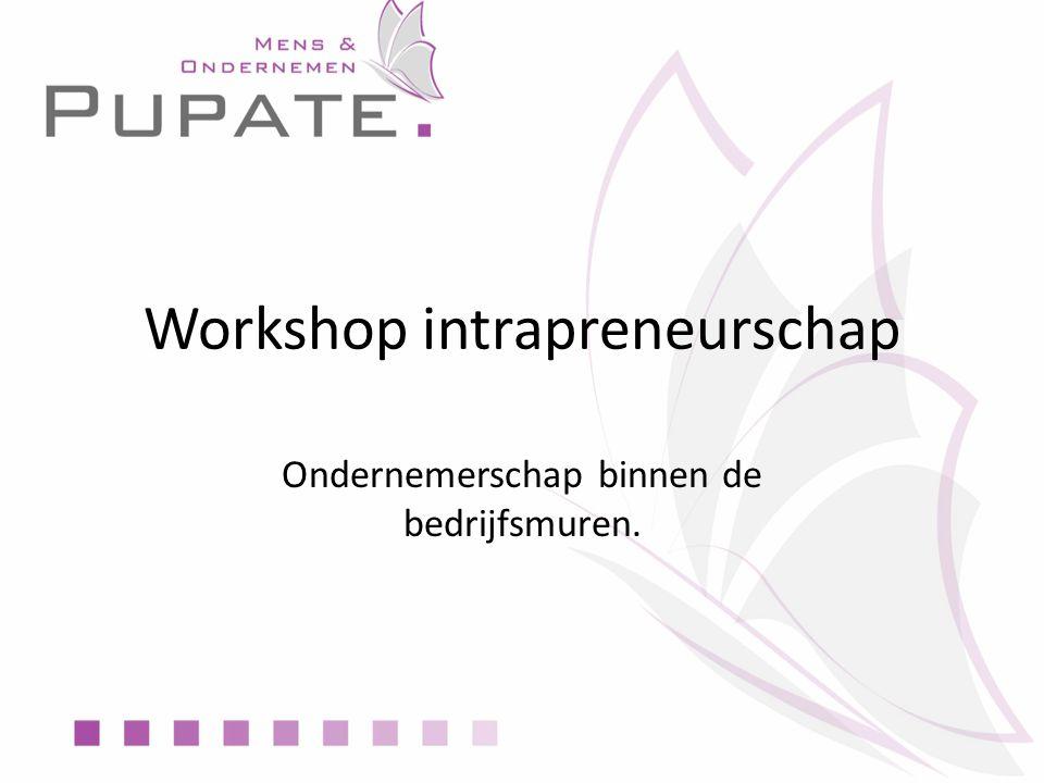 Workshop intrapreneurschap Ondernemerschap binnen de bedrijfsmuren.