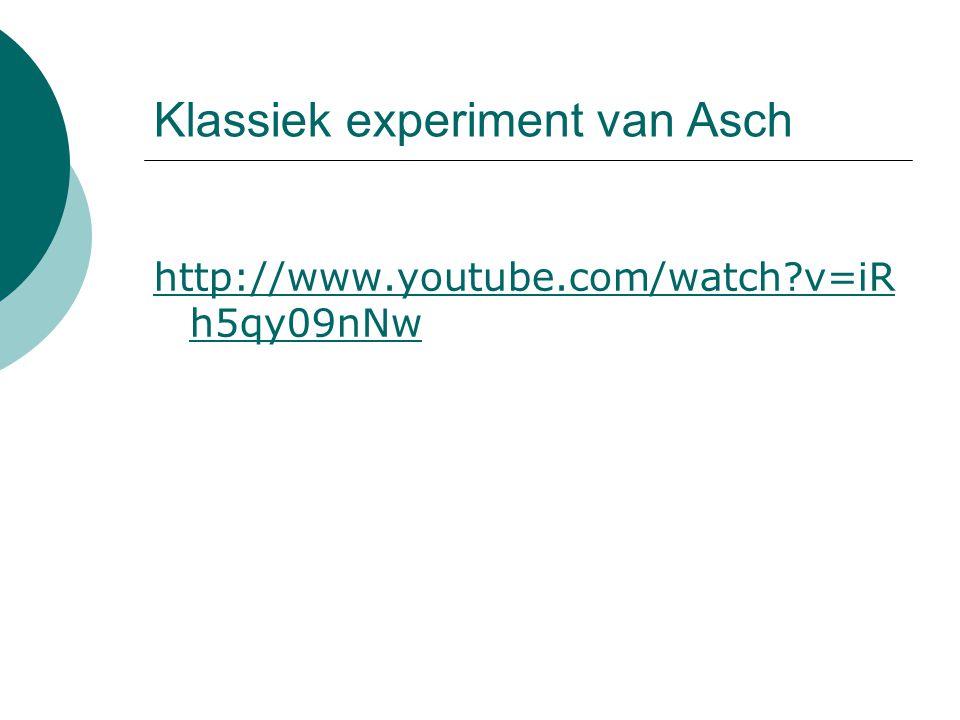 Klassiek experiment van Asch http://www.youtube.com/watch?v=iR h5qy09nNw