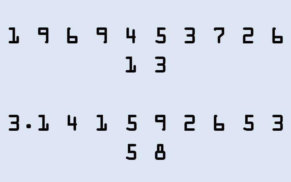 1 9 6 9 4 5 3 7 2 6 1 3 3.1 4 1 5 9 2 6 5 3 5 8