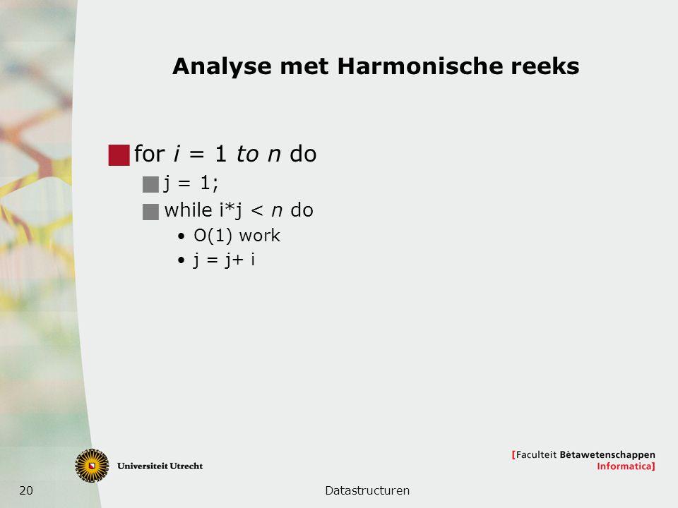20 Analyse met Harmonische reeks  for i = 1 to n do  j = 1;  while i*j < n do O(1) work j = j+ i Datastructuren