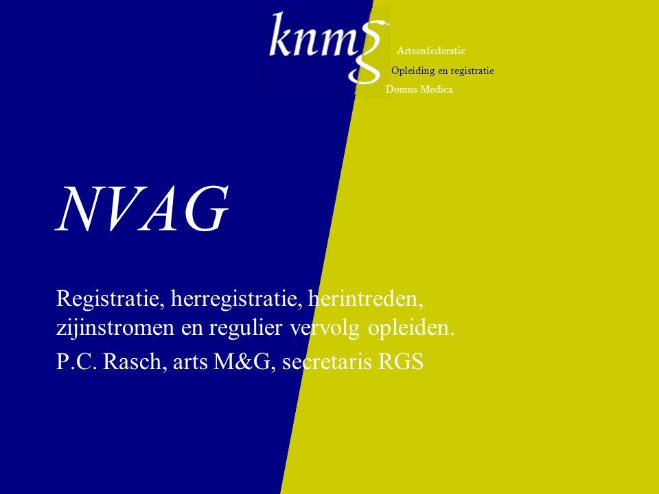 Artsenfederatie Opleiding en registratie Domus Medica NVAG Registratie, herregistratie, herintreden, zijinstromen en regulier vervolg opleiden.