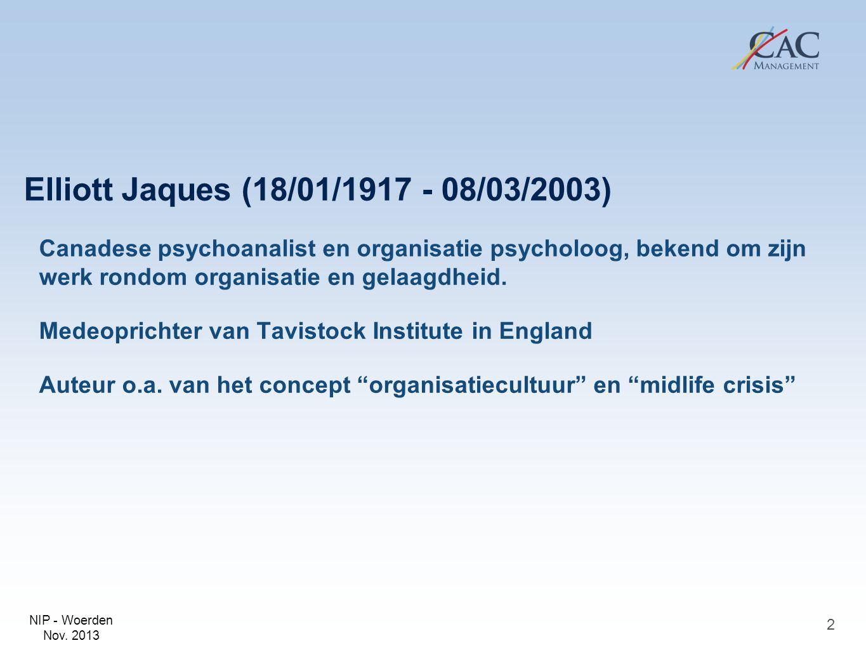 NIP - Woerden Nov. 2013 Elliott Jaques (18/01/1917 - 08/03/2003) Canadese psychoanalist en organisatie psycholoog, bekend om zijn werk rondom organisa