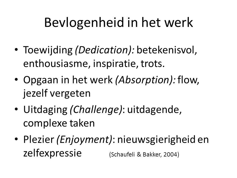 Bevlogenheid in het werk Toewijding (Dedication): betekenisvol, enthousiasme, inspiratie, trots. Opgaan in het werk (Absorption): flow, jezelf vergete