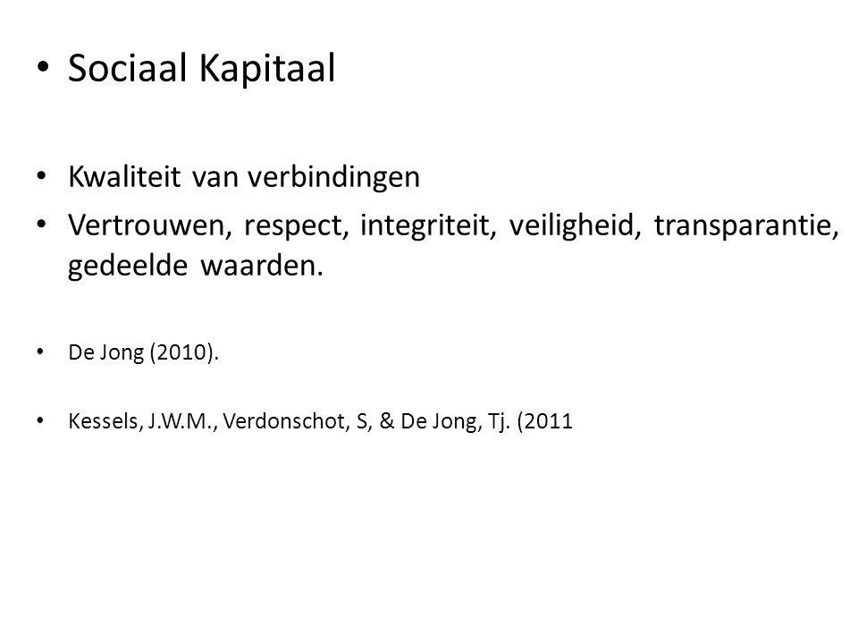 Sociaal Kapitaal Kwaliteit van verbindingen Vertrouwen, respect, integriteit, veiligheid, transparantie, gedeelde waarden. De Jong (2010). Kessels, J.