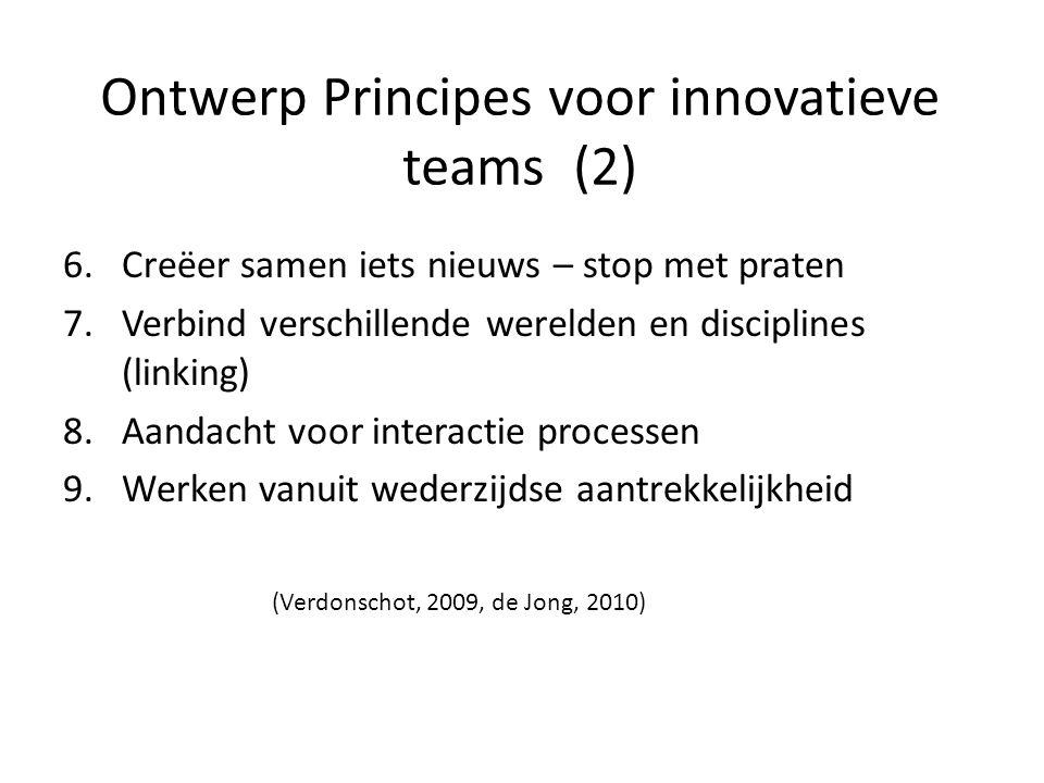 Ontwerp Principes voor innovatieve teams (2) 6.Creëer samen iets nieuws – stop met praten 7.Verbind verschillende werelden en disciplines (linking) 8.