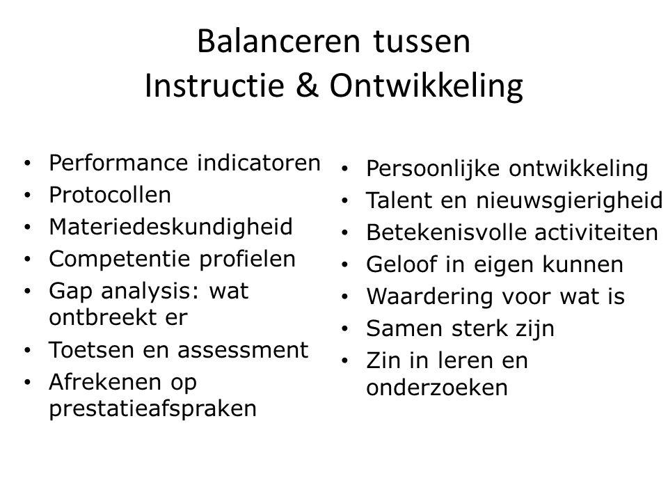 Balanceren tussen Instructie & Ontwikkeling Performance indicatoren Protocollen Materiedeskundigheid Competentie profielen Gap analysis: wat ontbreekt