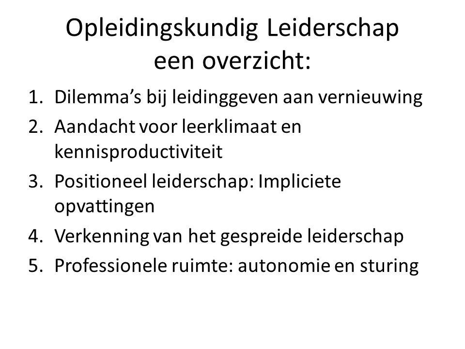 Opleidingskundig Leiderschap een overzicht: 1.Dilemma's bij leidinggeven aan vernieuwing 2.Aandacht voor leerklimaat en kennisproductiviteit 3.Positio