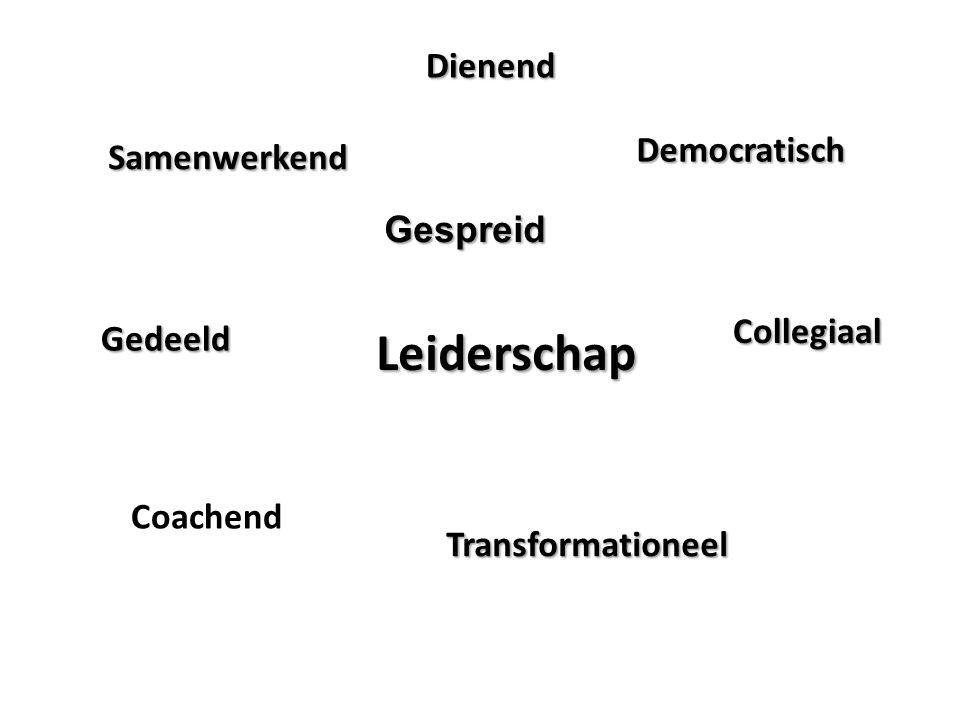 Gespreid Samenwerkend Democratisch Leiderschap Collegiaal Transformationeel Gedeeld Dienend Coachend