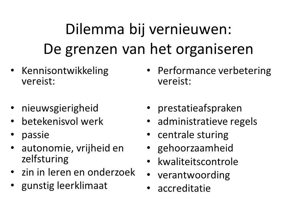 Dilemma bij vernieuwen: De grenzen van het organiseren Kennisontwikkeling vereist: nieuwsgierigheid betekenisvol werk passie autonomie, vrijheid en ze