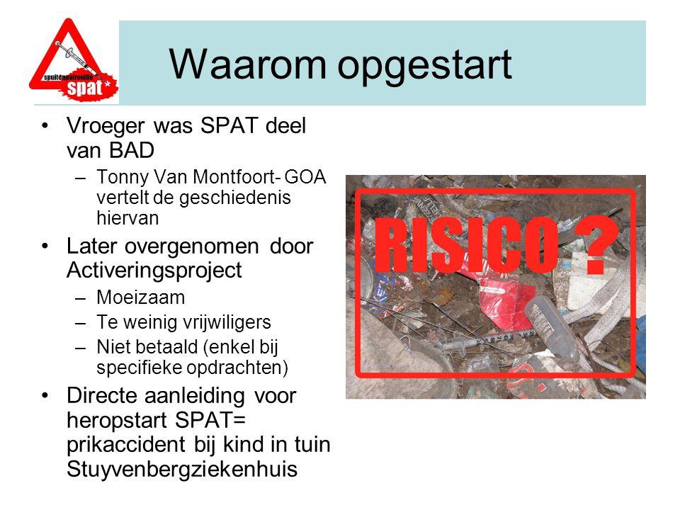 De BAD periode (Belangenorganisatie Antwerpse Druggebruikers) Tonny Van Montfoort – vroeger BAD, Nu GOA (Gebruikers Overleg Antwerpen) Vanuit de gebruikerorganisatie junkiebond van Antwerpen - BAD werd er begin 2000 een spuitenpatrouille opgestart.