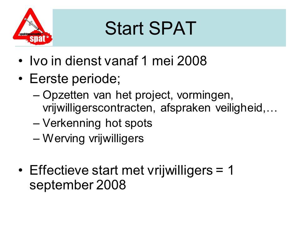 Start SPAT Ivo in dienst vanaf 1 mei 2008 Eerste periode; –Opzetten van het project, vormingen, vrijwilligerscontracten, afspraken veiligheid,… –Verke