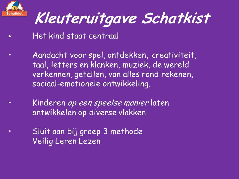 Kleuteruitgave Schatkist Het kind staat centraal Aandacht voor spel, ontdekken, creativiteit, taal, letters en klanken, muziek, de wereld verkennen, g
