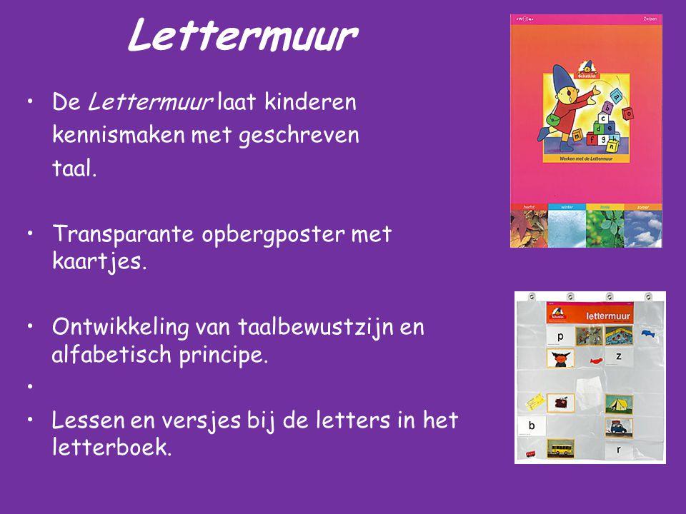 Lettermuur De Lettermuur laat kinderen kennismaken met geschreven taal. Transparante opbergposter met kaartjes. Ontwikkeling van taalbewustzijn en alf