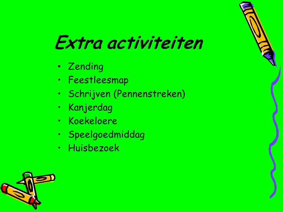 Extra activiteiten Zending Feestleesmap Schrijven (Pennenstreken) Kanjerdag Koekeloere Speelgoedmiddag Huisbezoek