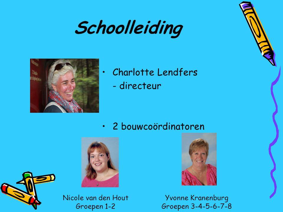 Schoolleiding Charlotte Lendfers - directeur 2 bouwcoördinatoren Nicole van den Hout Groepen 1-2 Yvonne Kranenburg Groepen 3-4-5-6-7-8