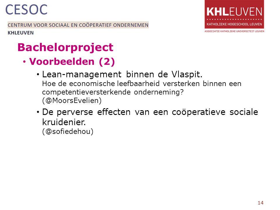 Bachelorproject Voorbeelden (2) Lean-management binnen de Vlaspit.