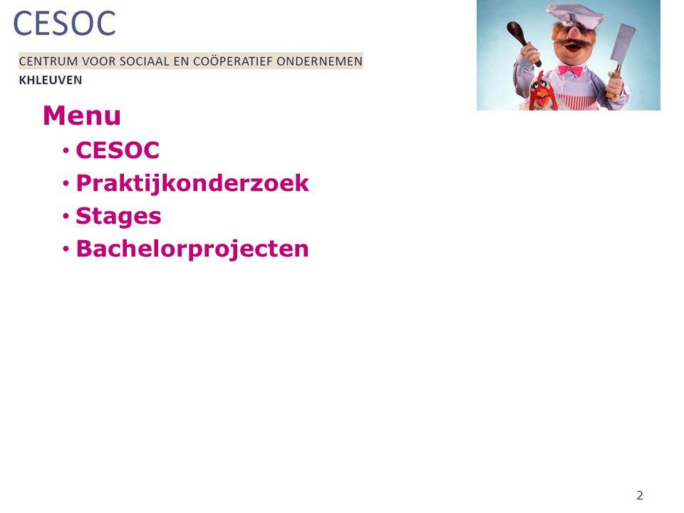 Menu CESOC Praktijkonderzoek Stages Bachelorprojecten 2
