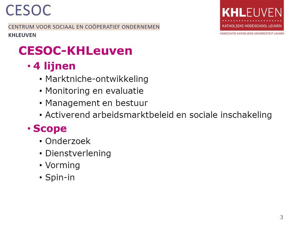 CESOC-KHLeuven 4 lijnen Marktniche-ontwikkeling Monitoring en evaluatie Management en bestuur Activerend arbeidsmarktbeleid en sociale inschakeling Scope Onderzoek Dienstverlening Vorming Spin-in 3