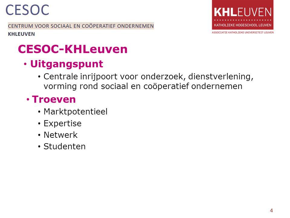 CESOC-KHLeuven Uitgangspunt Centrale inrijpoort voor onderzoek, dienstverlening, vorming rond sociaal en coöperatief ondernemen Troeven Marktpotentieel Expertise Netwerk Studenten 4