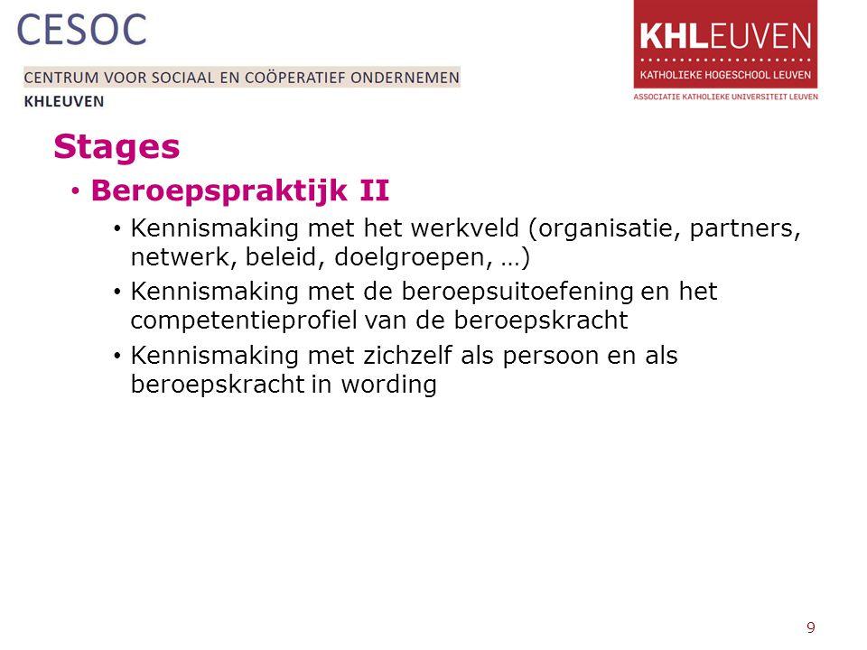 Stages Beroepspraktijk II Kennismaking met het werkveld (organisatie, partners, netwerk, beleid, doelgroepen, …) Kennismaking met de beroepsuitoefening en het competentieprofiel van de beroepskracht Kennismaking met zichzelf als persoon en als beroepskracht in wording 9