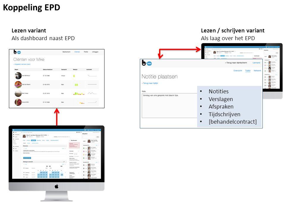 Koppeling EPD Lezen variant Als dashboard naast EPD Lezen / schrijven variant Als laag over het EPD Notities Verslagen Afspraken Tijdschrijven [behandelcontract]