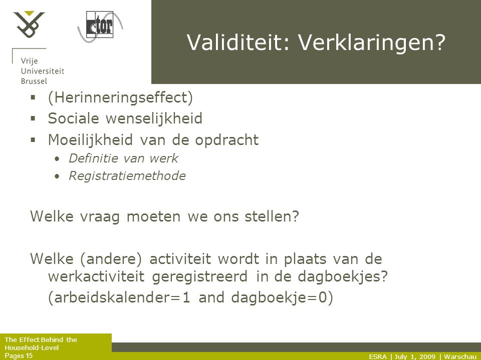 The Effect Behind the Household-Level Pages 15 Validiteit: Verklaringen.