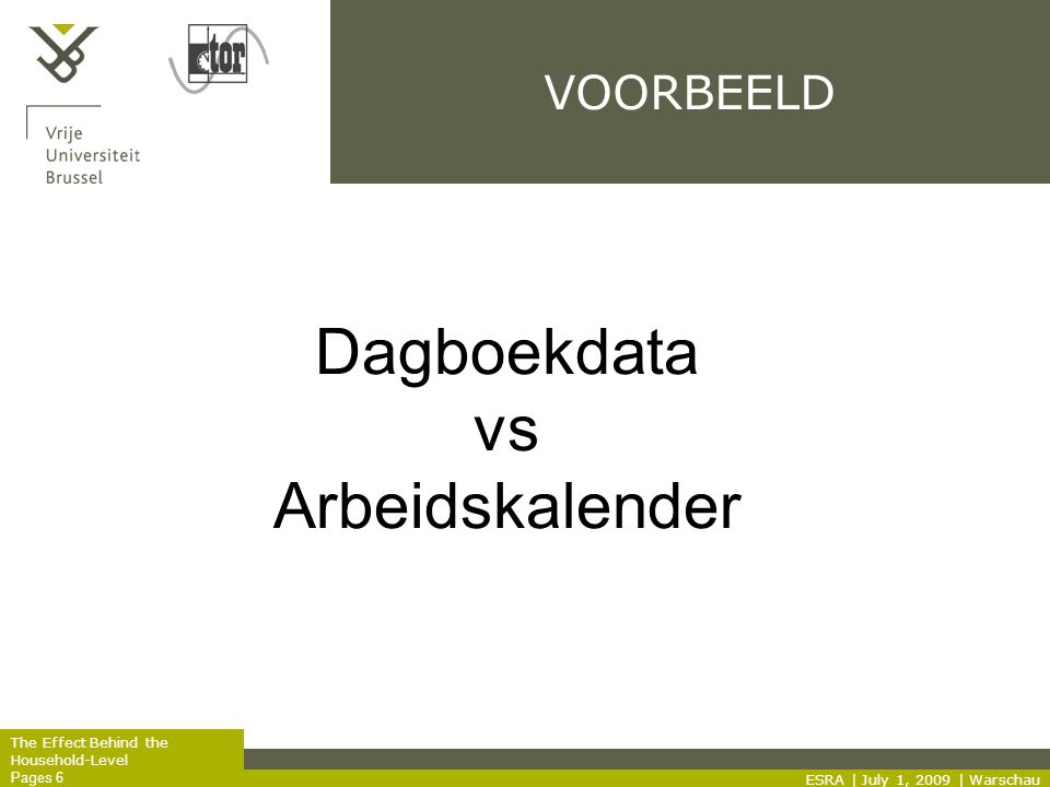 The Effect Behind the Household-Level Pages 6 VOORBEELD ESRA | July 1, 2009 | Warschau Dagboekdata vs Arbeidskalender
