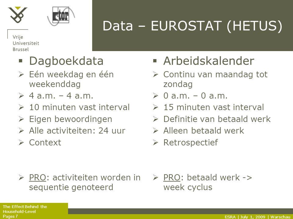 The Effect Behind the Household-Level Pages 7 Data – EUROSTAT (HETUS)  Dagboekdata  Eén weekdag en één weekenddag  4 a.m.