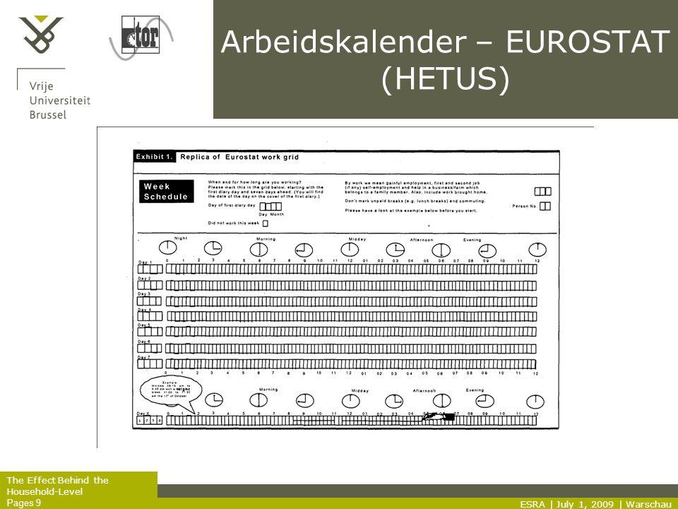 The Effect Behind the Household-Level Pages 9 Arbeidskalender – EUROSTAT (HETUS) ESRA | July 1, 2009 | Warschau