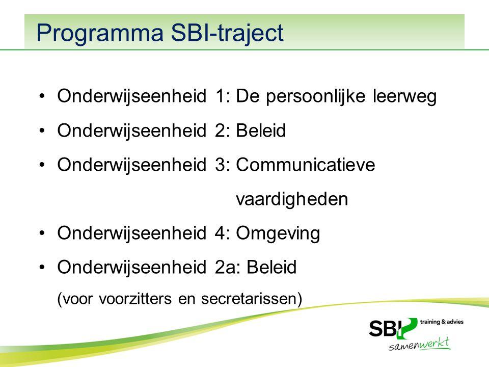 Programma SBI-traject Onderwijseenheid 1: De persoonlijke leerweg Onderwijseenheid 2: Beleid Onderwijseenheid 3: Communicatieve vaardigheden Onderwijseenheid 4: Omgeving Onderwijseenheid 2a: Beleid (voor voorzitters en secretarissen)