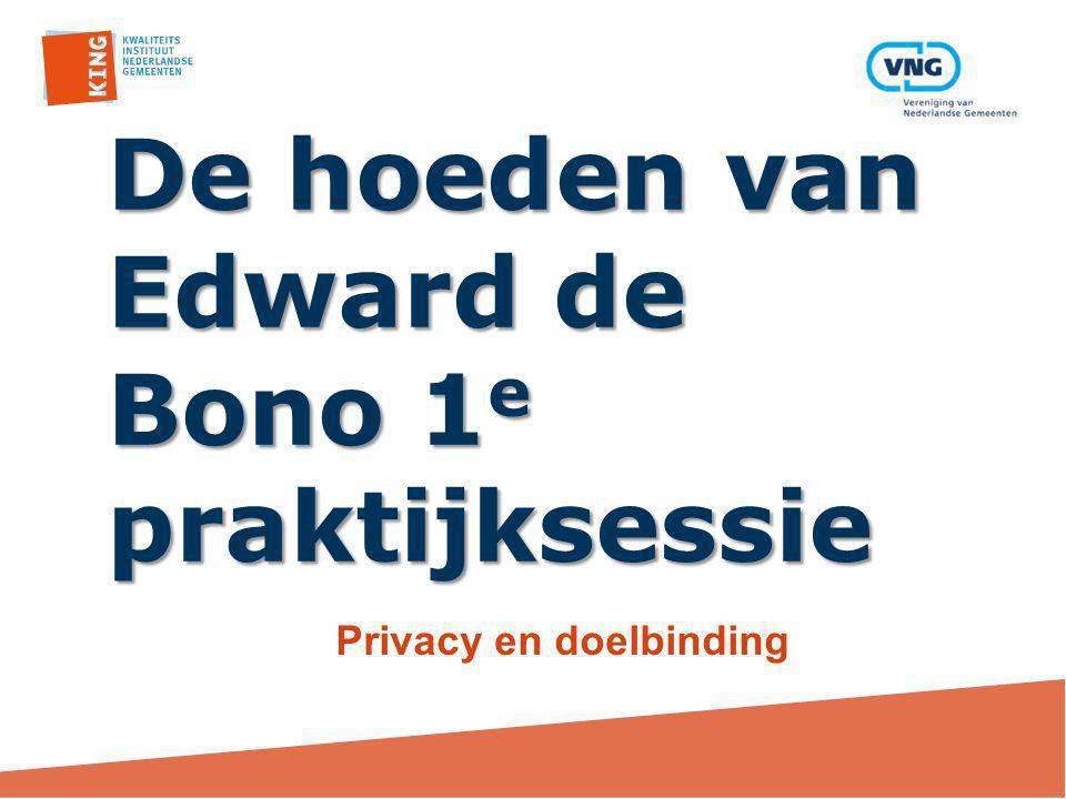 De hoeden van Edward de Bono 1 e praktijksessie Privacy en doelbinding