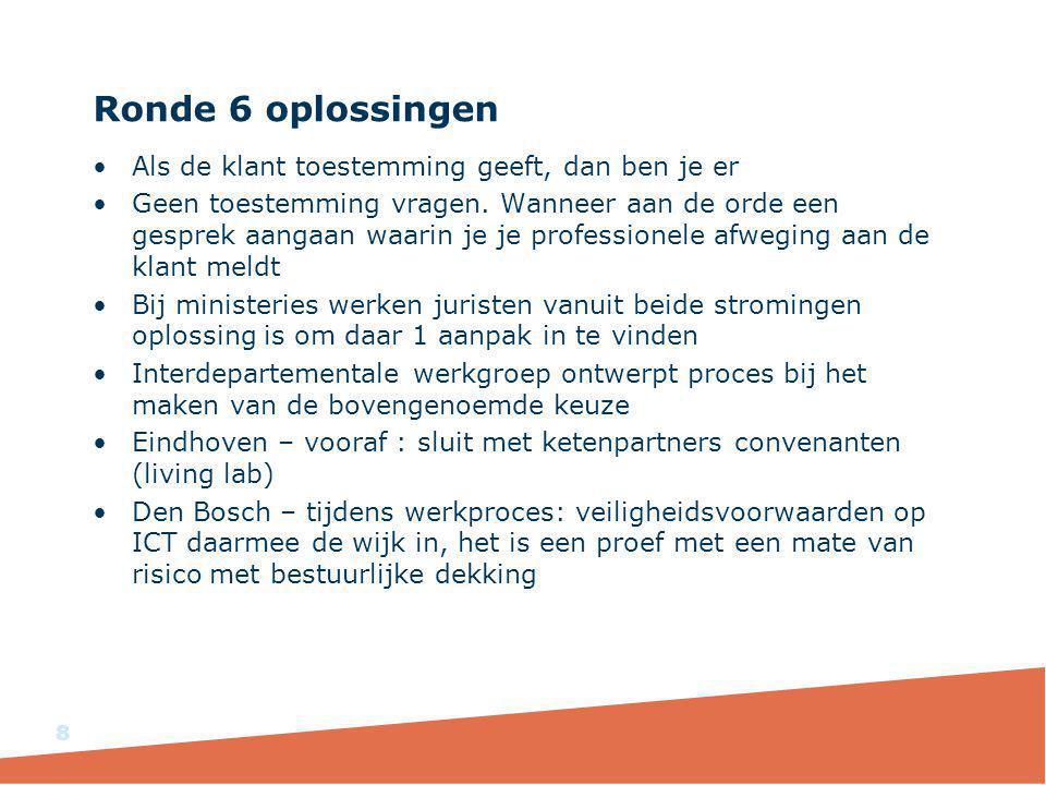 Ronde 6 oplossingen Als de klant toestemming geeft, dan ben je er Geen toestemming vragen.