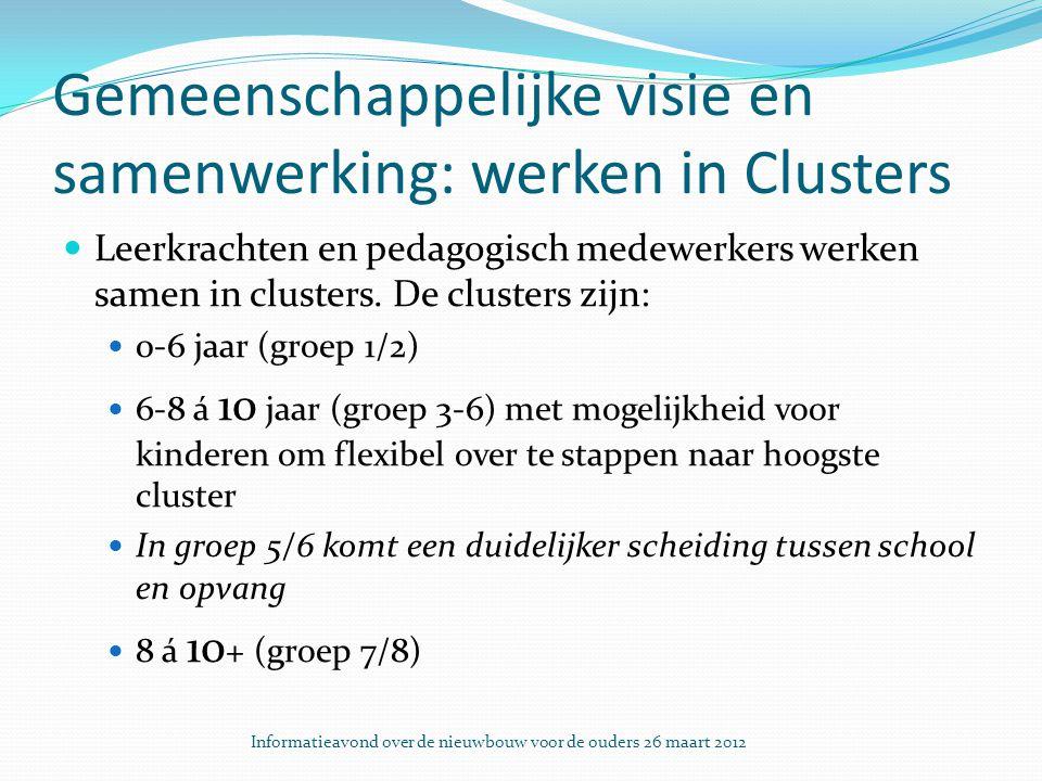 Gemeenschappelijke visie en samenwerking: werken in Clusters Leerkrachten en pedagogisch medewerkers werken samen in clusters.