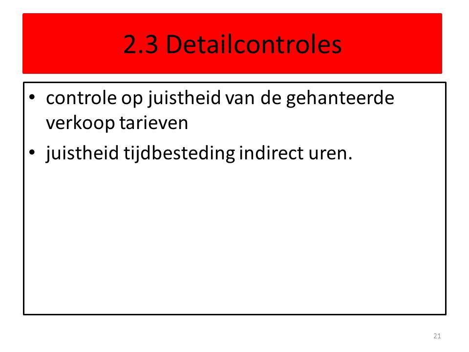 2.3 Detailcontroles controle op juistheid van de gehanteerde verkoop tarieven juistheid tijdbesteding indirect uren. 21