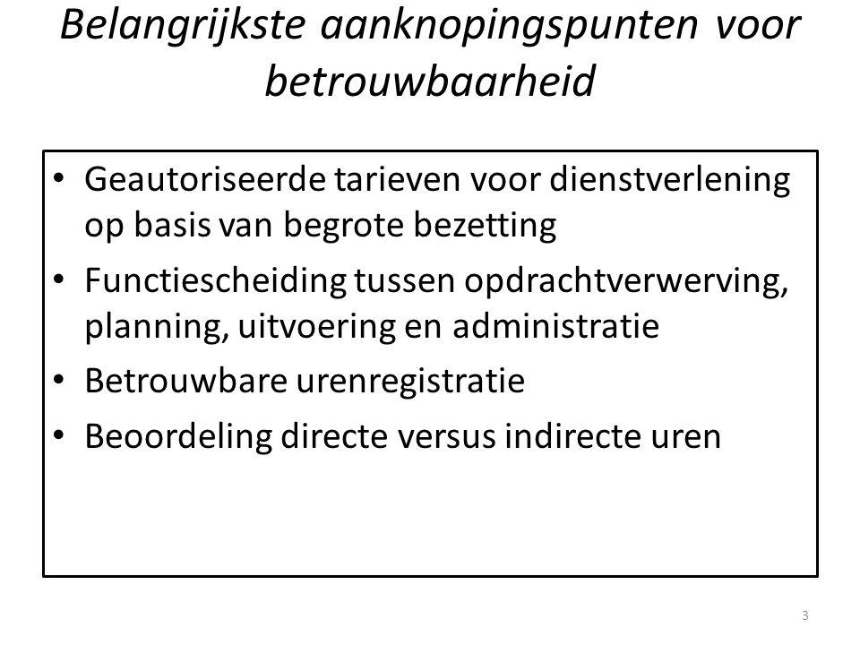 Belangrijkste aanknopingspunten voor betrouwbaarheid Geautoriseerde tarieven voor dienstverlening op basis van begrote bezetting Functiescheiding tuss