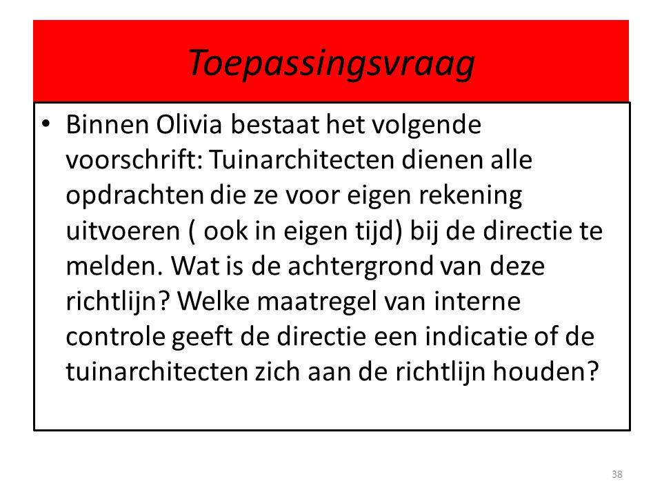 Toepassingsvraag Binnen Olivia bestaat het volgende voorschrift: Tuinarchitecten dienen alle opdrachten die ze voor eigen rekening uitvoeren ( ook in