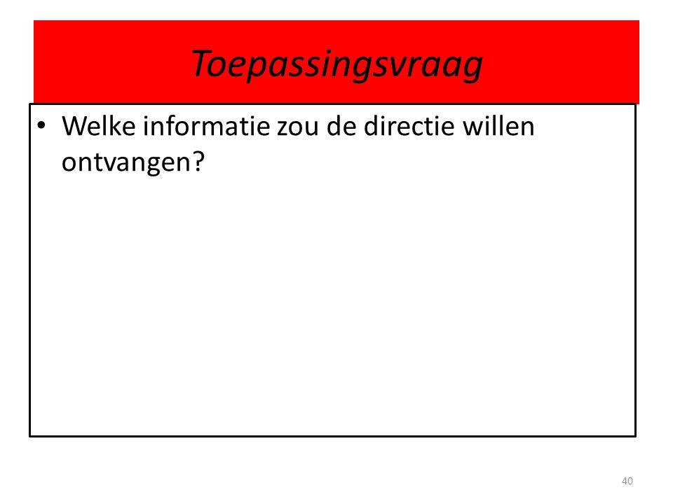 Toepassingsvraag 40 Welke informatie zou de directie willen ontvangen?