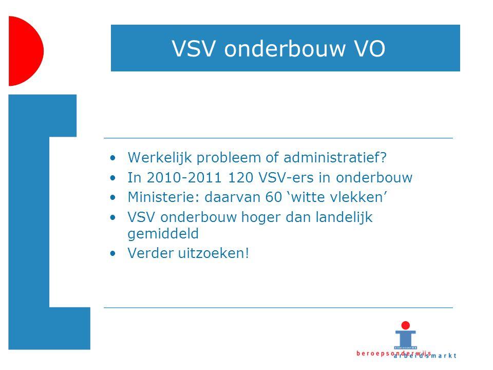 VSV onderbouw VO Werkelijk probleem of administratief? In 2010-2011 120 VSV-ers in onderbouw Ministerie: daarvan 60 'witte vlekken' VSV onderbouw hoge
