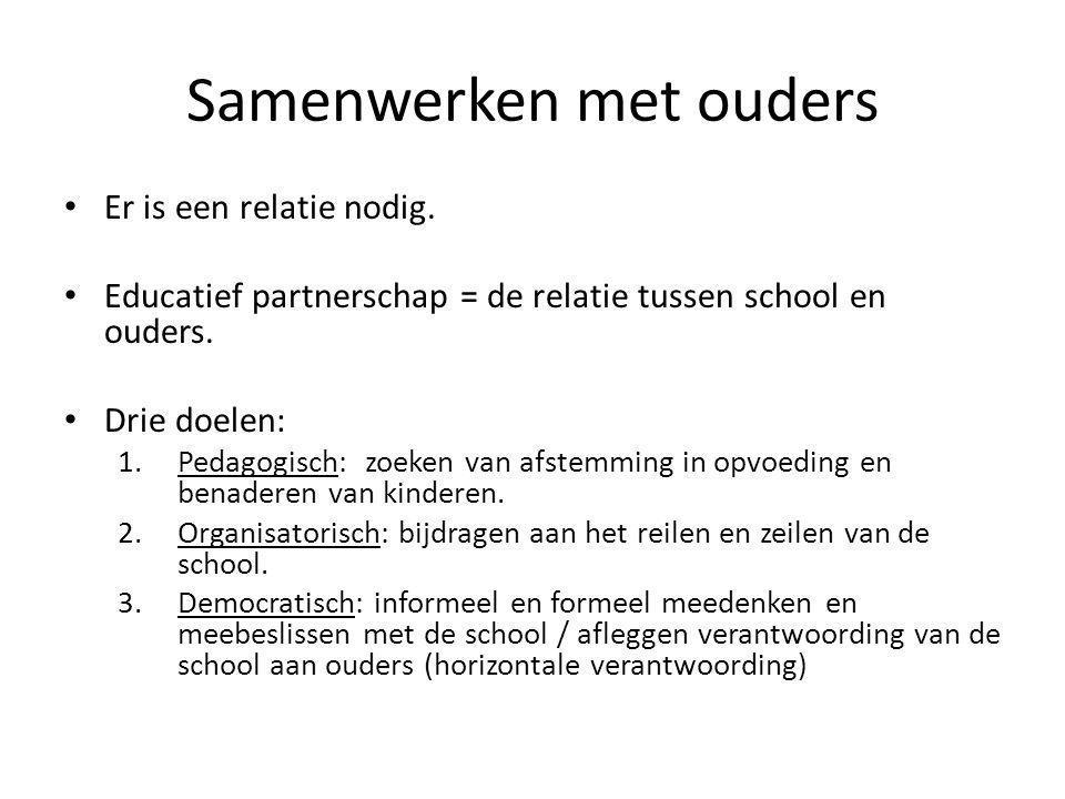 Samenwerken met ouders Er is een relatie nodig. Educatief partnerschap = de relatie tussen school en ouders. Drie doelen: 1.Pedagogisch: zoeken van af