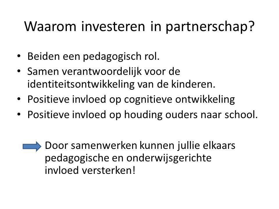 Waarom investeren in partnerschap? Beiden een pedagogisch rol. Samen verantwoordelijk voor de identiteitsontwikkeling van de kinderen. Positieve invlo