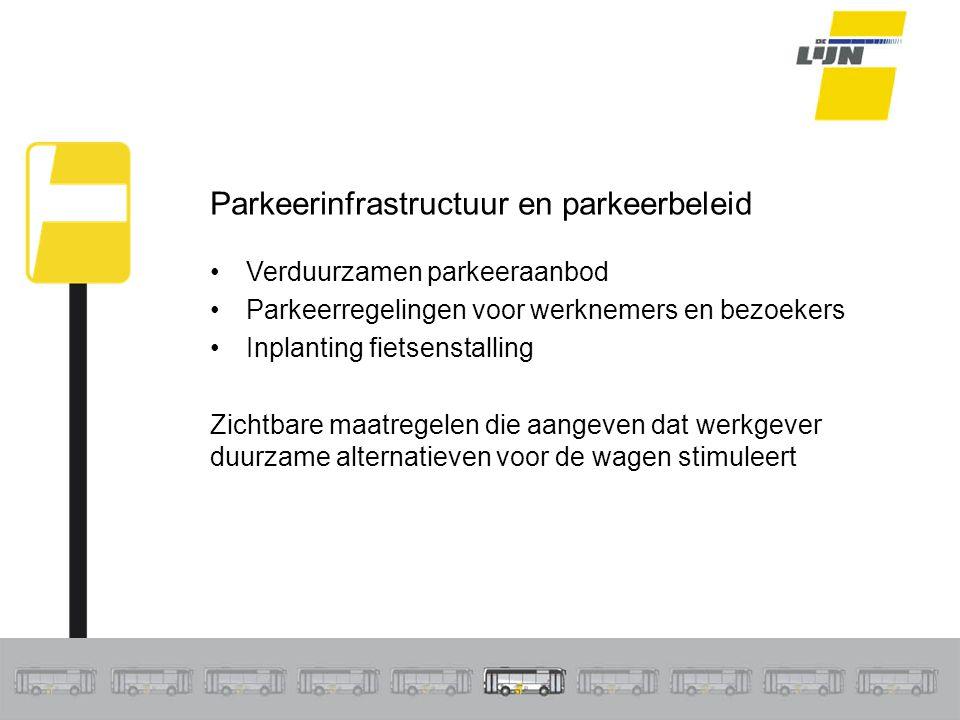 Parkeerinfrastructuur en parkeerbeleid Verduurzamen parkeeraanbod Parkeerregelingen voor werknemers en bezoekers Inplanting fietsenstalling Zichtbare maatregelen die aangeven dat werkgever duurzame alternatieven voor de wagen stimuleert