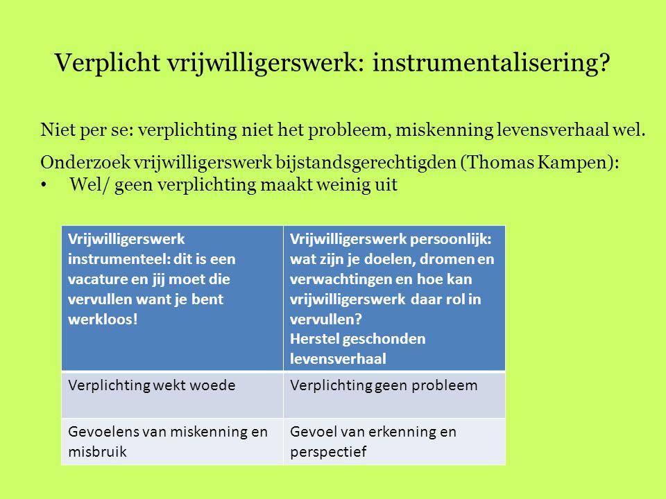 Verplicht vrijwilligerswerk: instrumentalisering? Niet per se: verplichting niet het probleem, miskenning levensverhaal wel. Onderzoek vrijwilligerswe